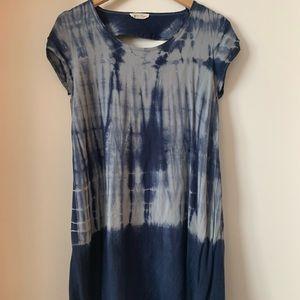 Blue tie dye t-shirt dress